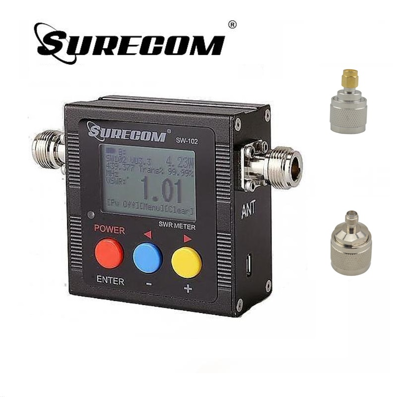 SureCom SW-102 Digital Power Tester SWR Meter  Frequency Counter & 2 RF Adapter Cover 125MHz~520MHz For Ham Transceiver Scanner