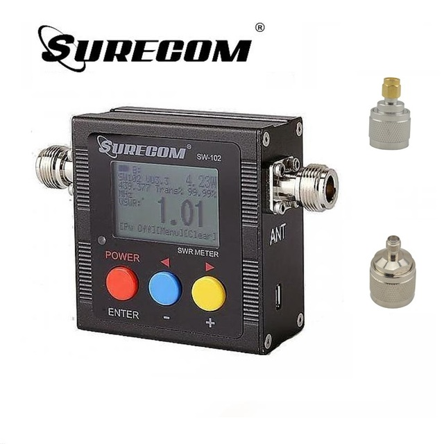 SureCom SW 102 Digital Power Tester SWR Meter  Frequency Counter & 2 RF Adapter Cover 125MHz~520MHz for Ham Transceiver Scanner
