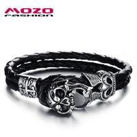 Wholesale New 2014 Fashion Jewelry Punk Skull Stainless Steel Black Genuine Leather Personality Men Bracelet Male