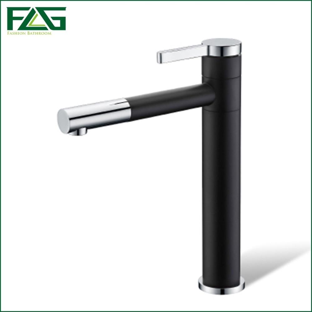 Basin Faucet 360 Degree Swivel Black Painting Chrome,Platform Heightening Cold Hot Deck Mounted Vanity Sink Bathroom Tap Mixer