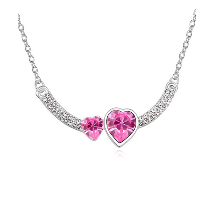 Double Crystal Heart Pendant Necklace 4