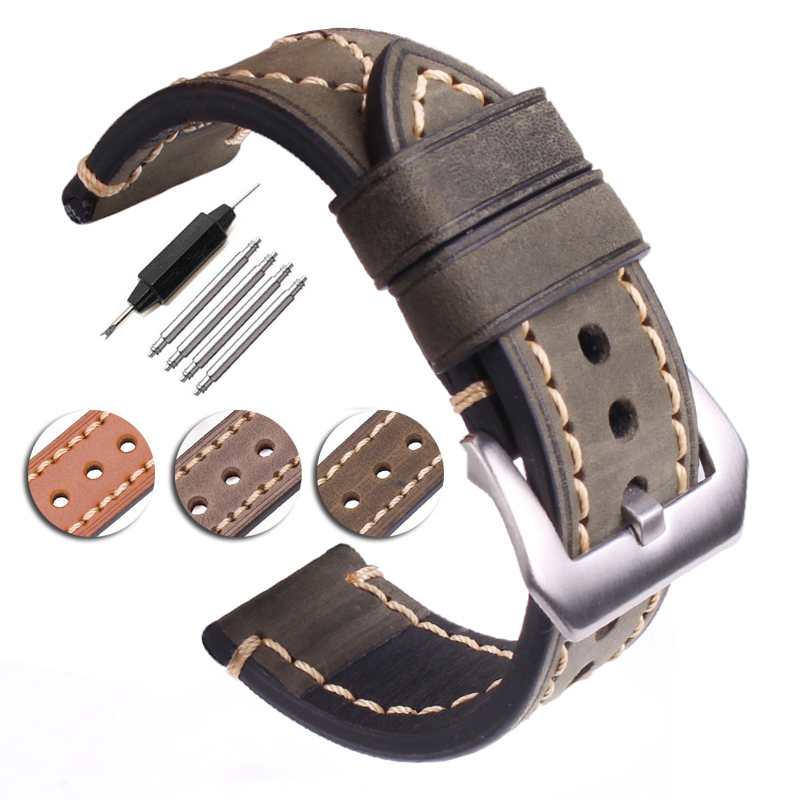 Handmade Genuine Leather Watchbands Men Women Black Brown Green Gray 22mm 24mm Thick Watch Band Strap Steel Buckle For Panerai 22mm 24mm black mens genuine leather watch strap band