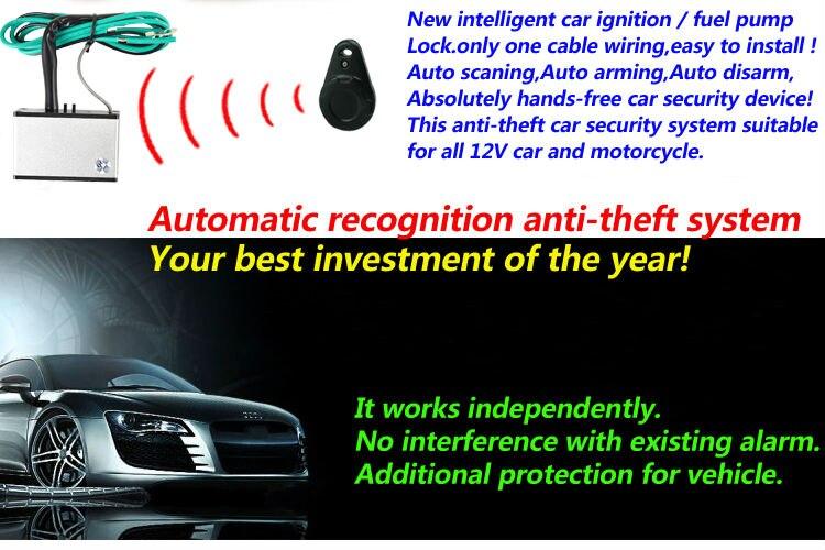 Upgarde anti-vol alarme de voiture d'immobilisation Mains Libres automatique blocage du moteur de reconnaissance avec RFID + télécommande Antivol sécurité