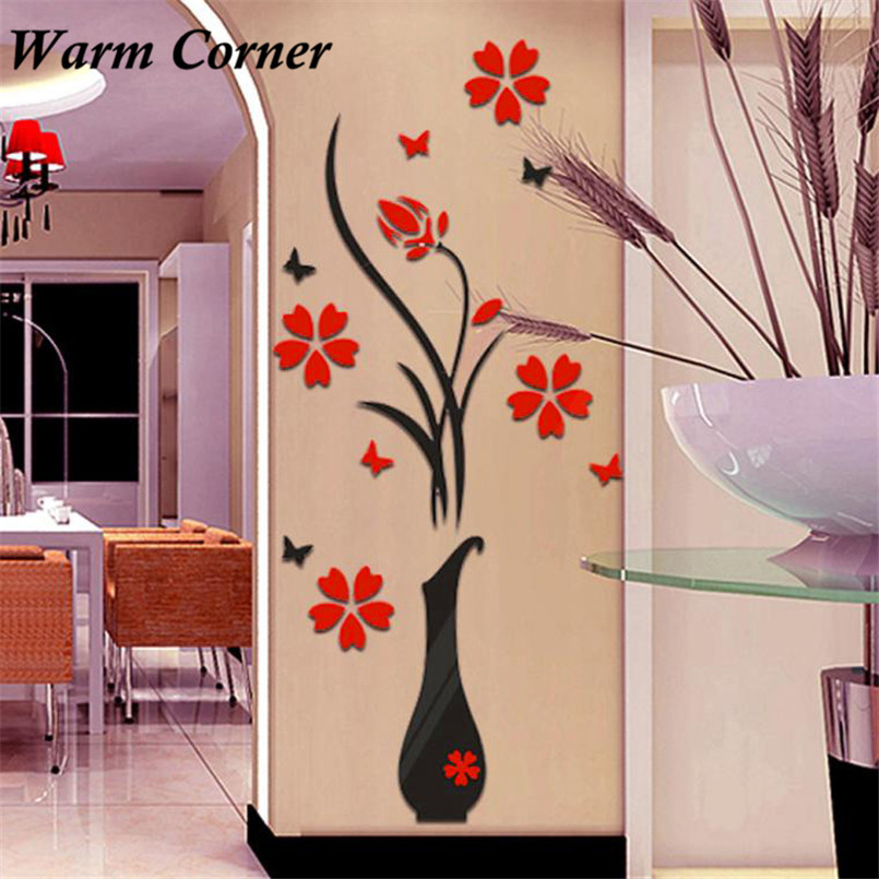 1Set 2 Types Hot DIY Vase Flower Tree 3D Wall Stickers Crystal Arcylic Decal Home Decor Bedroom Hall Doors Free Shipping Nov 9