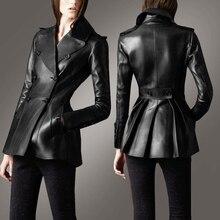 Black women leather jacket coat sheepskin genuine leather motorcycle clothing female korea Slim skirt pendulum Design Jacket