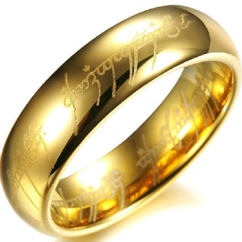 Lord Of The Rings Wedding Band.Us 6 08 13 Off Very Popular 6mm Gold Color The Lord Of The Ring Titanium Steel Jewelry Ring Wedding Band In Rings From Jewelry Accessories On