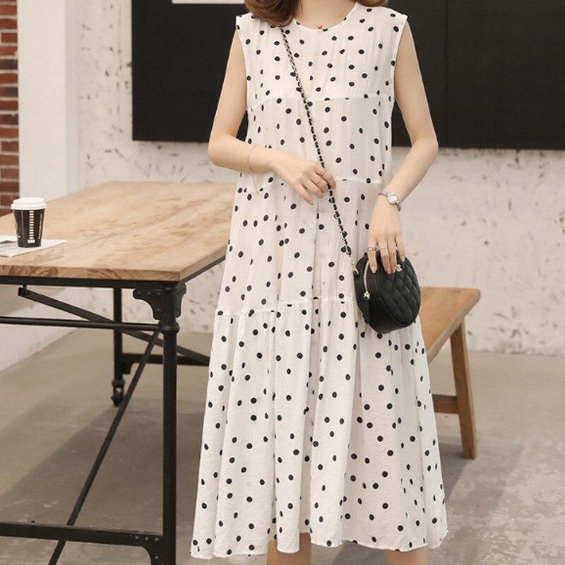 Летнее корейское платье без рукавов в горошек с разрезом сзади для беременных Одежда для беременных большого размера одежда мягкое Летнее ...