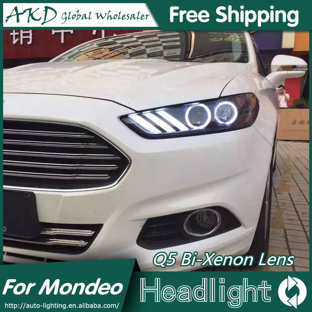 Akd car styling for mondeo headlights 2013 2015 new fusion led headlight drl bi xenon