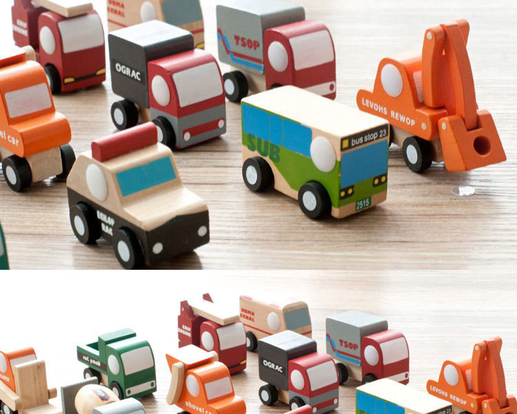 12pcslot Wooden Car Educational Toys Baby Kids Boy Toys Wheel Rotatable Cars Models Toys Simulate Mini Automobiles for Children (9)