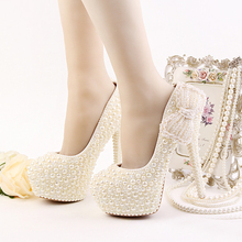 Luxury Ivory Wedding Dress Shoes High Heel Platform Bridal Shoes Ivory Pearl Formal Dress Shoes Handmade High Heel Prom Pumps