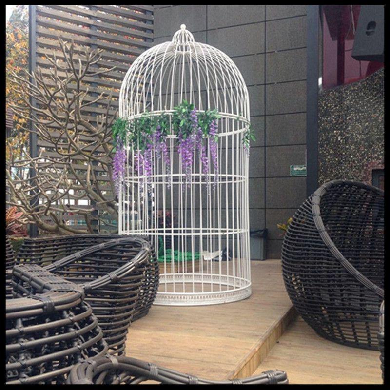 1 pièces fer décoration de mariage accessoires oiseau cage ameublement extérieur carré, parc grande cage à oiseaux