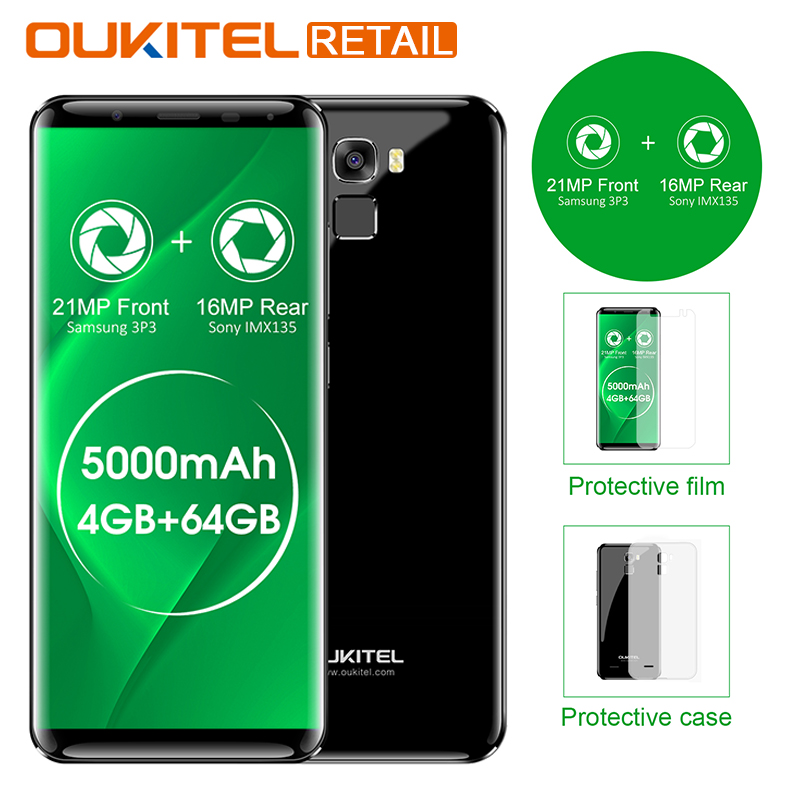 Oukitel K5000 5.7 HD Infinity Display MTK6750 Octa Core Android 7.0 4GB RAM 64GB ROM 21MP Cam 5000mAh Fingerprint 4G Smartphone