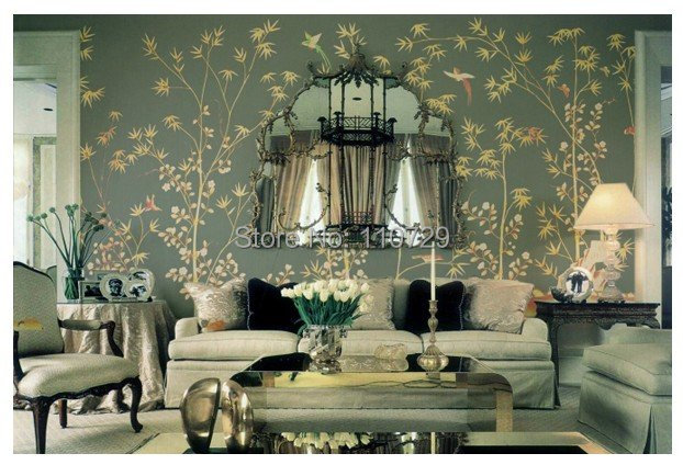 Hand-painted silk wallpaper painting tree with bamboo w/birds hand painted wall paper wallcovering many arts/background optional