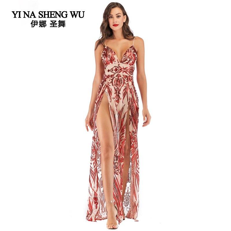 Adulte femmes été sexy fronde dos nu robe de haute qualité longue danse robe de bal robe de soirée robe femme fendue des deux côtés