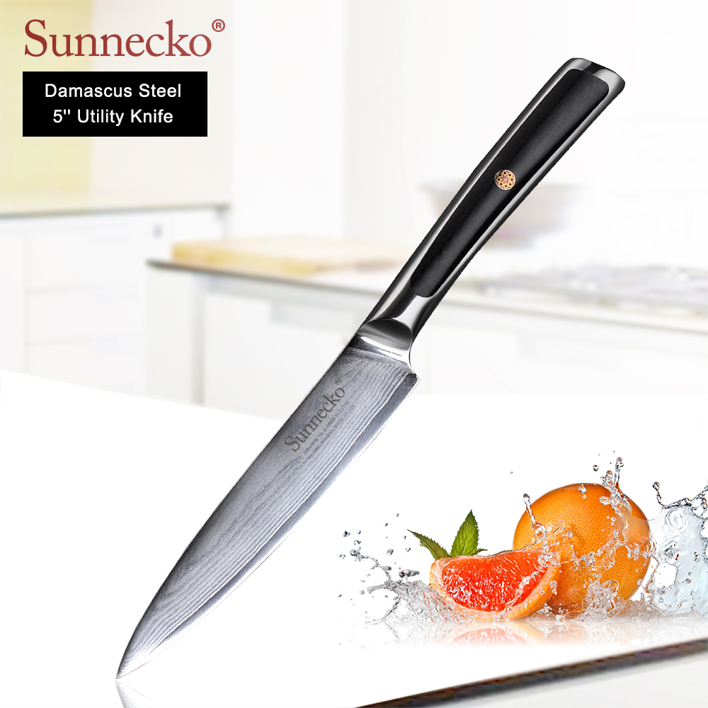 SUNNECKO New 4PCS Damascus Kitchen Knives Set Chef Utility Slicer Paring Knife Japanese VG10 Steel G10 Handle Meat Fruit Cutter