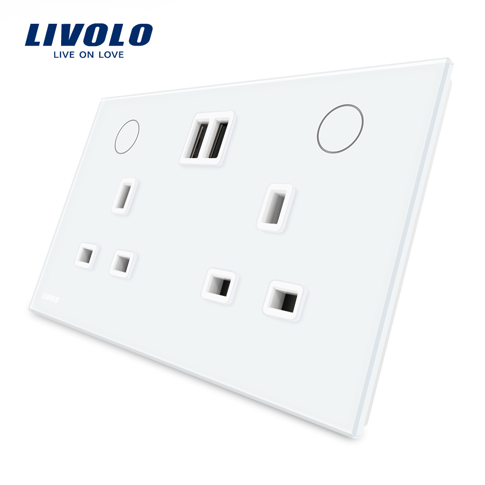 Livolo Manufacturer UK Standard Wall Power Socket+2USB, White Crystal Glass Panel, 13A Wall Outlet, VL-W2C2UKU-11/12 uk socket wallpad crystal glass panel 110v 250v switched 13a uk british standard electrical wall socket power outlet uk with led
