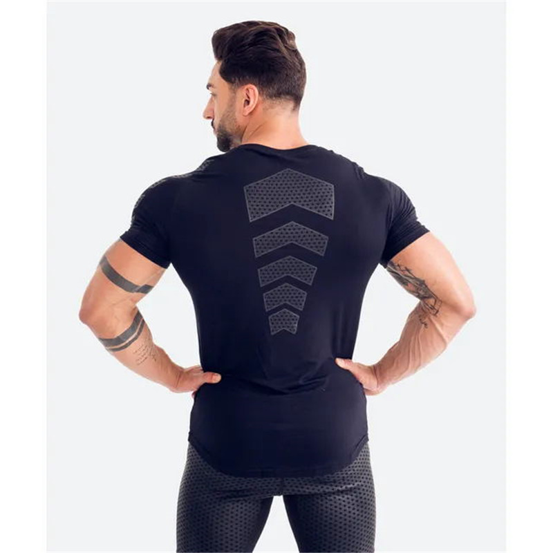 Image 3 - GymRagz 2019 New Cotton T Shirt Men Breathable T Shirt Homme Gyms T shirt Men Fitness Summer Printing Gyms Tight Top Black-in T-Shirts from Men's Clothing