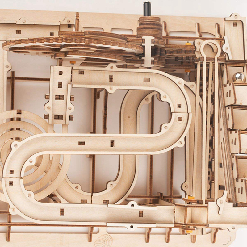 Image 4 - ROKR DIY Marble Run Game 3D Wooden Puzzle Gear Drive Waterwheel Coaster Model Building Kit Toys for Children Adult LG501-in Model Building Kits from Toys & Hobbies