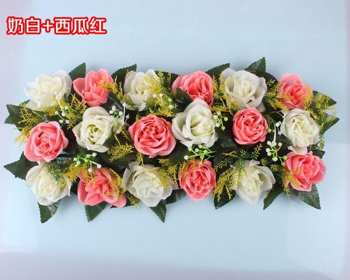 Свадебная композиция Свадебные Искусственные Свадебные шелковые розы арки цветочное свадебное украшение ряд цветов рамка с цветами 10 шт./партия - Цвет: FD10
