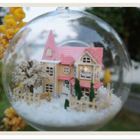 2015 Creative DIY Handmade Miniature Assembling Model Glass Ball House With Light Mini Lolita Dream House