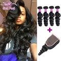 Rosa Hair Malaysian Loose Wave Virgin Hair With Closure Malaysian Virgin Hair 4Bundles With Closure Human Hair Weft With Closure