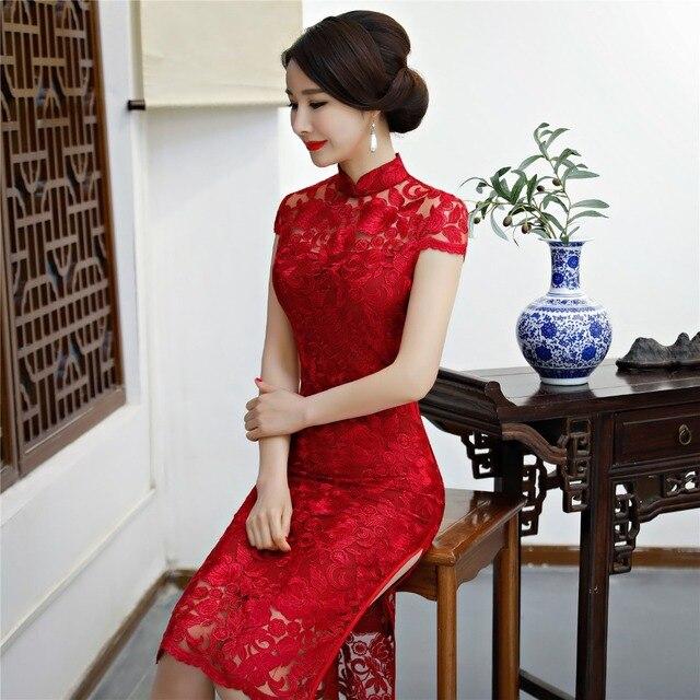 Roten Für Geschichte Chinesischen Cheongsam 52 Spitze Kleid Frau shanghai In Qipao Orientalischen 34Off Kurzarm Shanghai Us47 Knielangen L3AqR5Sc4j