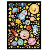 KEDODE Cosmic planet rocket luminous fluorescent wall stickers glow in the dark children's bedroom stickers birthday gifts