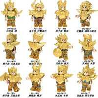 Conjunto venda blocos de construção tijolos saint seiya doze constelações tijolos figuras para crianças coleção brinquedos pg8212 pg8213