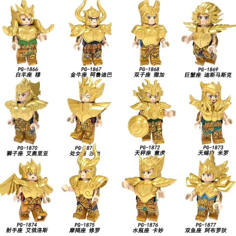 Conjunto Venda Doze Constelações de Blocos de Construção Tijolos de Saint Seiya Figuras Tijolos Para Coleção Crianças Brinquedos PG8212 PG8213