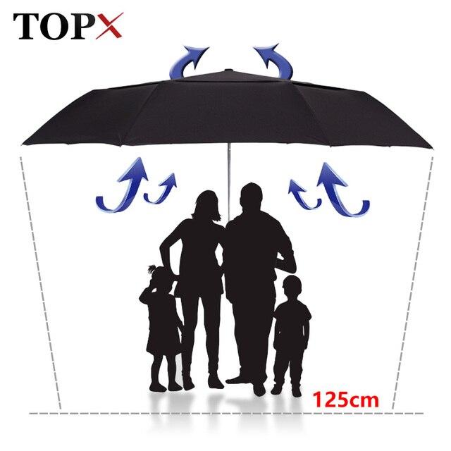 Forte resistência ao vento 125cm grande guarda chuva automático masculino dupla camada 3 dobrável paraguas guarda chuva de golfe chuva feminino guarda chuva de viagem