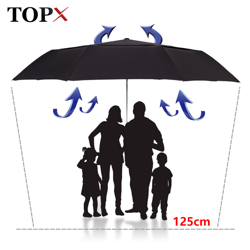 Strong Wind Resistance 125cm <font><b>Big</b></font> Automatic <font><b>Umbrella</b></font> Men Double Layer 3 Folding Paraguas <font><b>Golf</b></font> <font><b>Umbrella</b></font> Rain Women Travel Parasol image