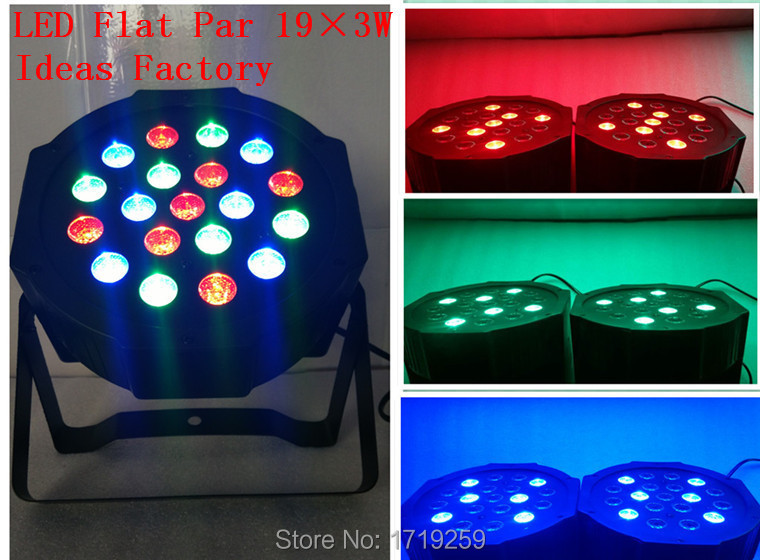 ФОТО 2017 New Par Light LED Wash Par SlimPar 19x3W RGB Stage Wedding Lighting LED DJ DMX 3/7 Channels Uplighting