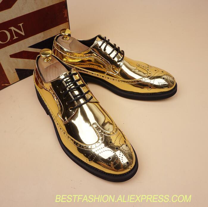 Genuino En Oro De Brown La Imitar Con Cuero Pies Cordones Tallada Oxford  Vestir Altura Punta Hombres Nuevo Moda gold Zapatos ... 60ac215113b2