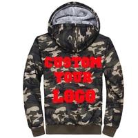 Drop Shipping Custom Logo Velvet Fleece Lined Men Camouflage Hoodie Camo Coat Plus Size 4XL