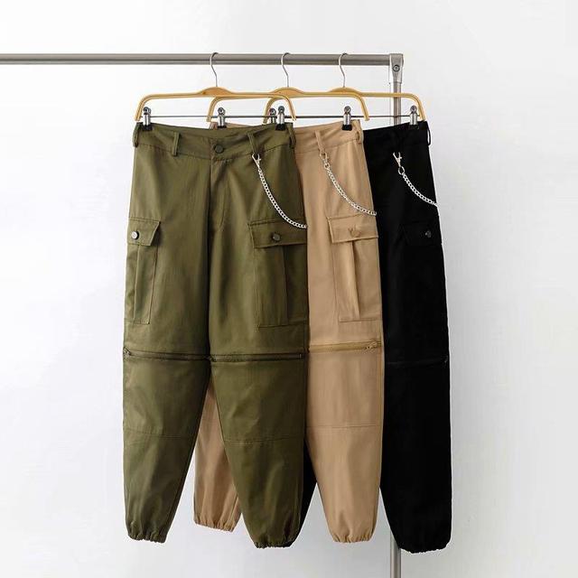 210c167b75 2018 New Hot Women High Waist Punk Cargo Pants Streetwear Lady Hip Hop  Safari Style Pants Sports Camo Trousers Army Green