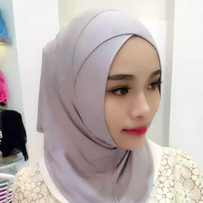2019 패션 얇은 크로스 슬리브 스카프 하단 모자 목도리 이슬람 여성 hijabs 스카프 긴 섹션 이슬람 여성 일반 hijab 스카프