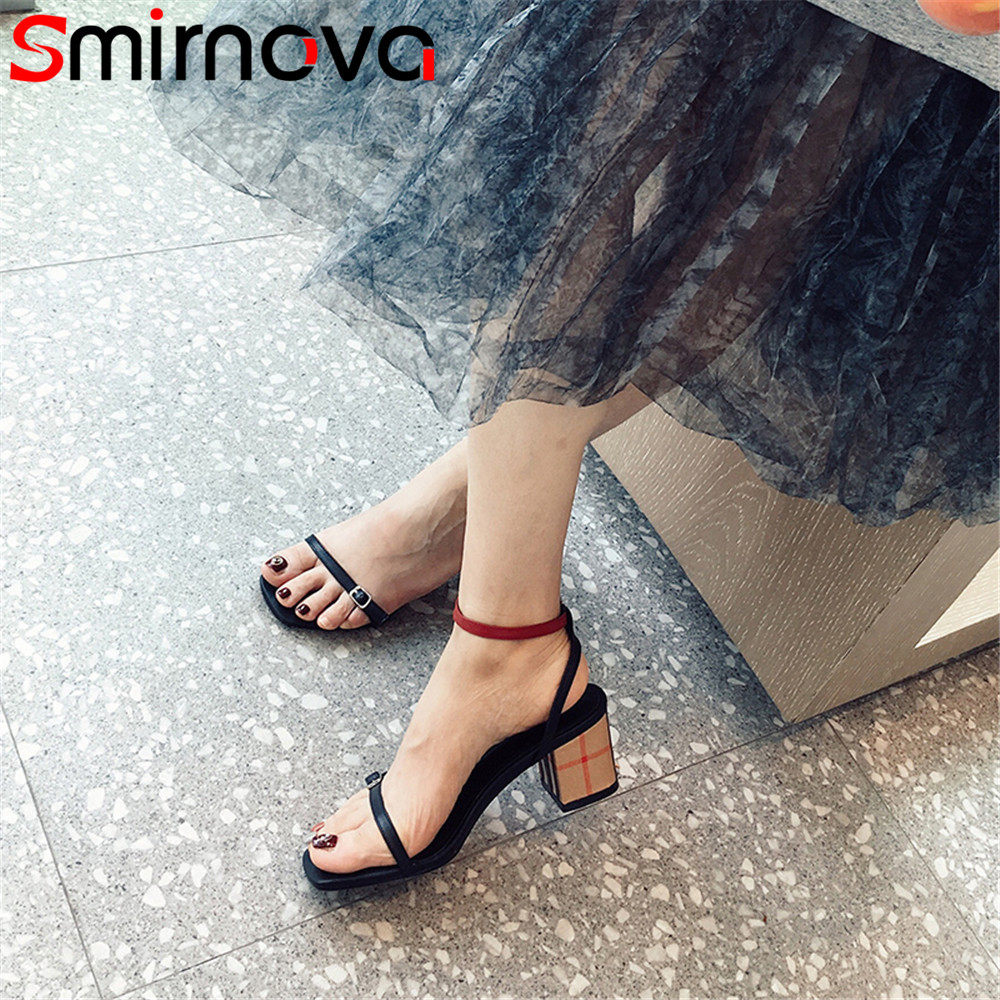 Smirnova black fashion summer new shoes woman buckle sandals women mixed colors genuine leather shoes square heel high heels new women sandals low heel wedges summer casual single shoes woman sandal fashion soft sandals free shipping