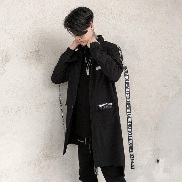 c135e0f0c11 Для мужчин с длинным рукавом Повседневная рубашка ленты Мужской High street  fashion хип хоп Свободные черный