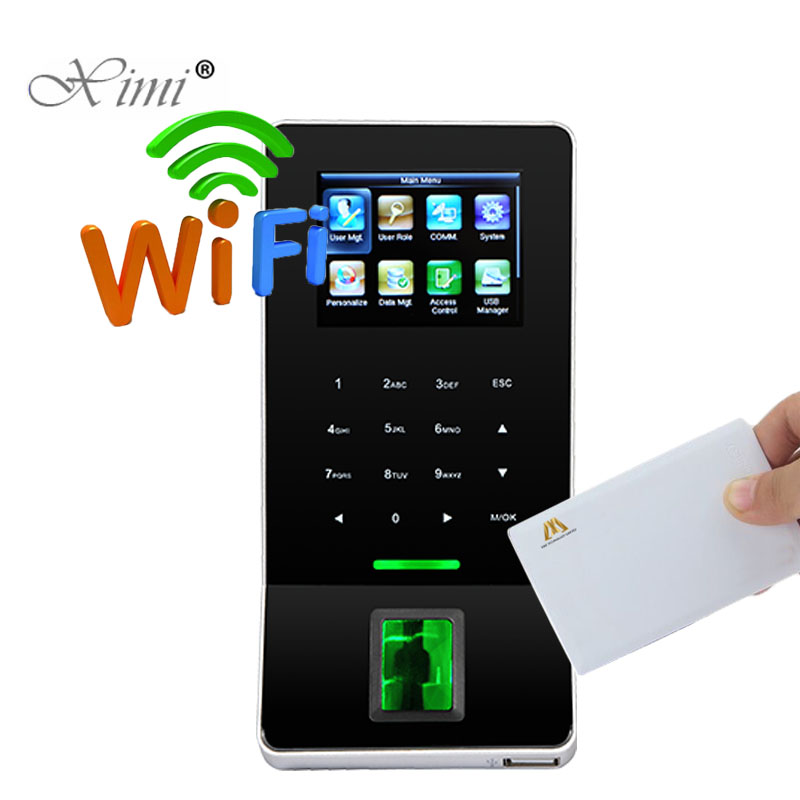 13.56MHZ MF Card Biometric Fingerprint Access Control System ZK F22 Door Access Control With Time Attendance And Wifi Function цена