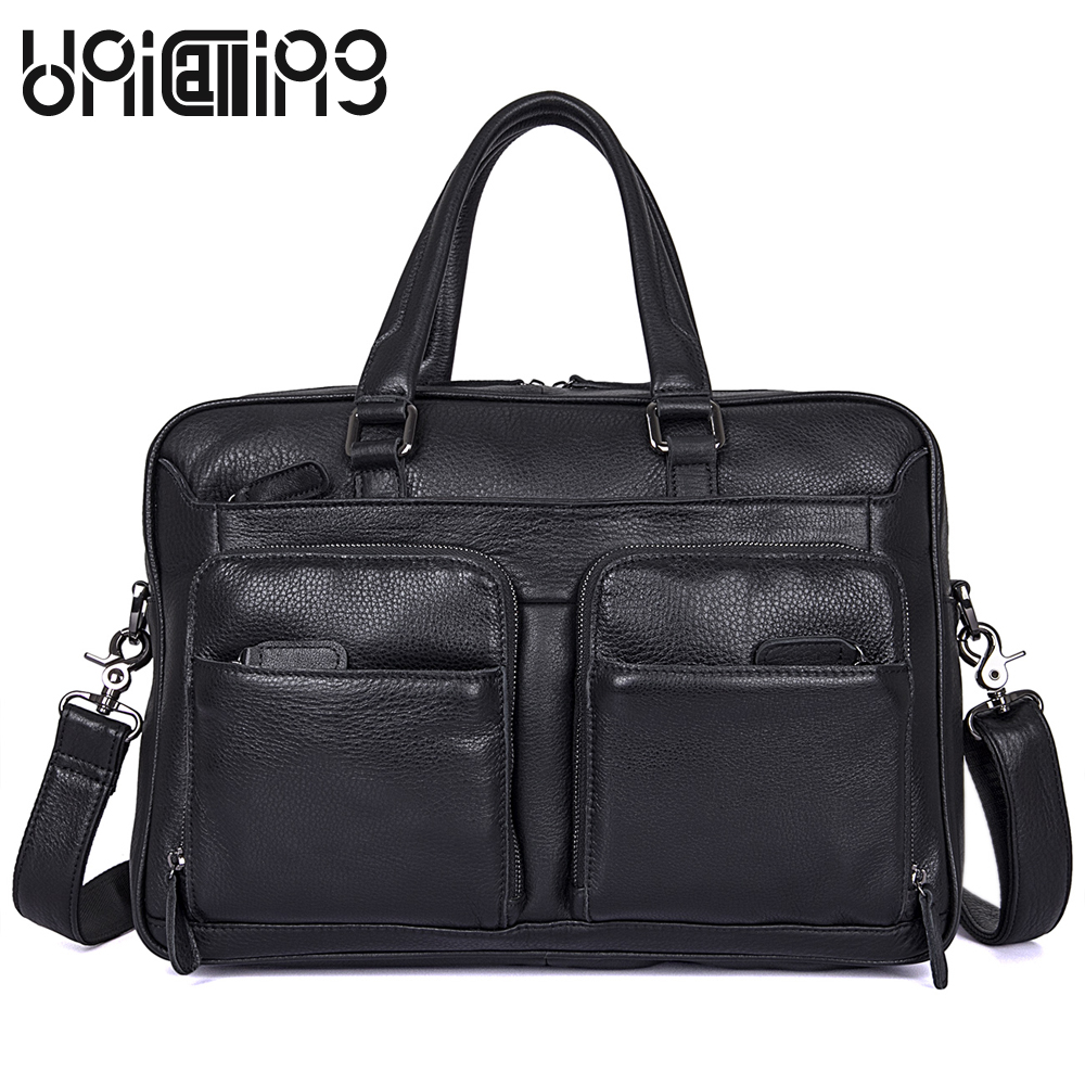 UniCalling New style Genuine Leather men handbags Large capacity Business men bag zipper Fashion cow leather men messenger bags premium top layer cowhide genuine leather men messenger bag unicalling brand fashion style leather men bags business casual bag