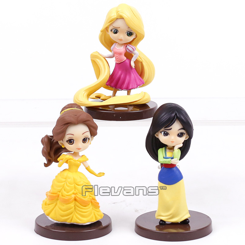 все цены на Q Posket Characters Beauty and the Beast Mulan Rapunzel Mini PVC Figures Toys Princesses Dolls Gifts for Girl 3pcs/set онлайн