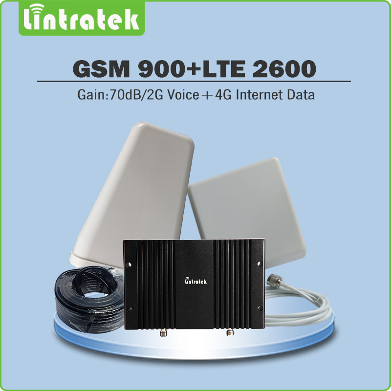 Gain 70dB 2G Voice/4G Internet Data Dual Band Signal Booster GSM 900MHz & FDD LTE 2600MHz Mobile Signal Repeater full set kitsGain 70dB 2G Voice/4G Internet Data Dual Band Signal Booster GSM 900MHz & FDD LTE 2600MHz Mobile Signal Repeater full set kits