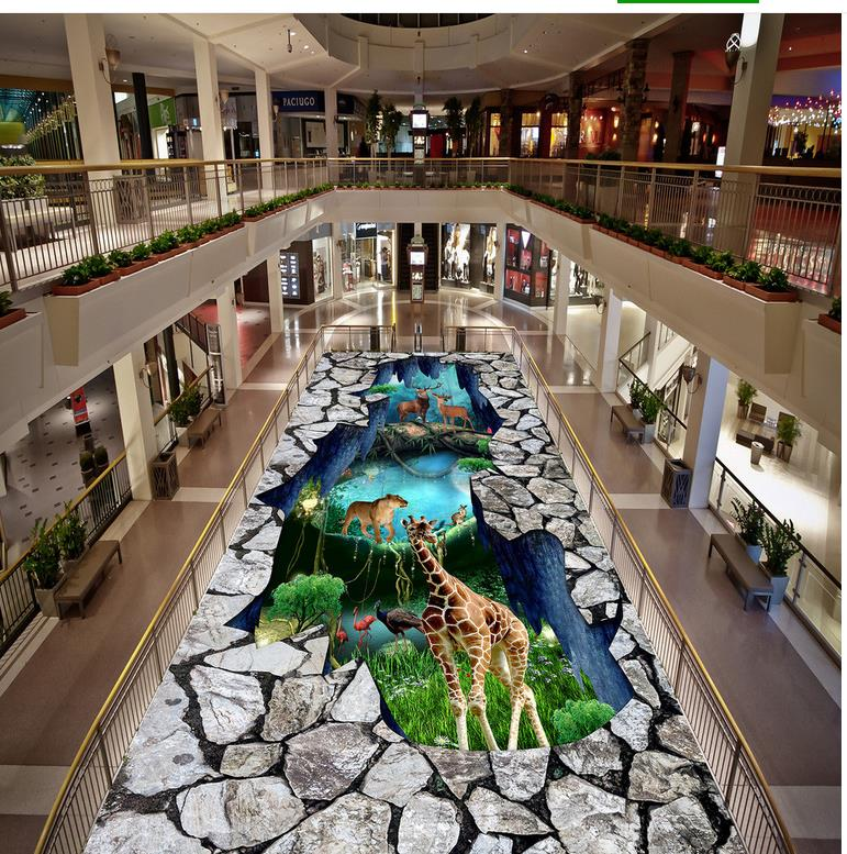 Non-slip Waterproof Self-adhesive PVC Wallpaper Dream Animal World 3D Floor Painting Modern Custom 3D Floor Mural 3D Floor цена и фото