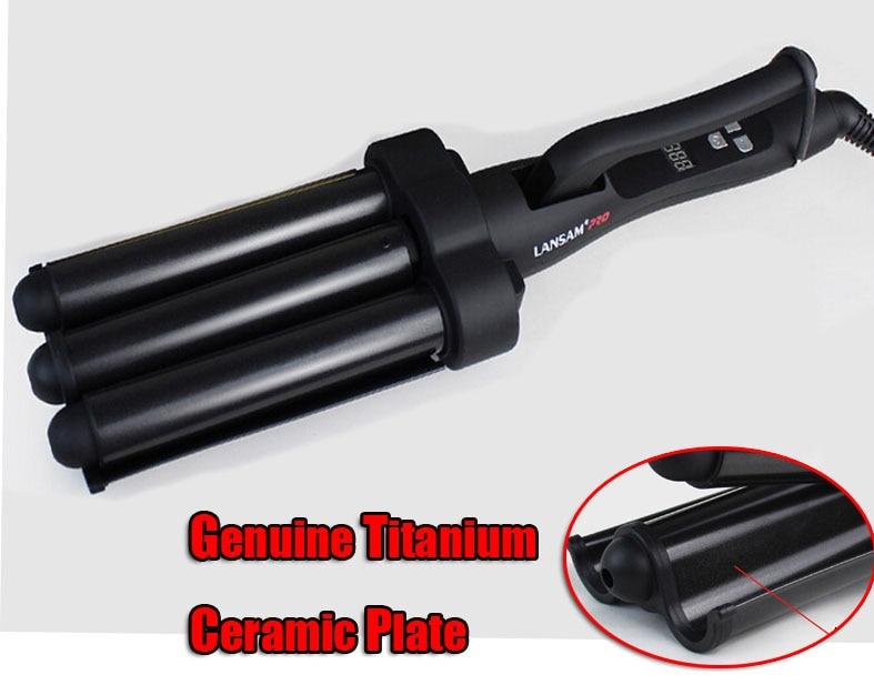 W502  Hot Sale 25 mm Professional Nano Titanium Ceramic Triple Barrel Waver Hair Curling Iron Three Barrel