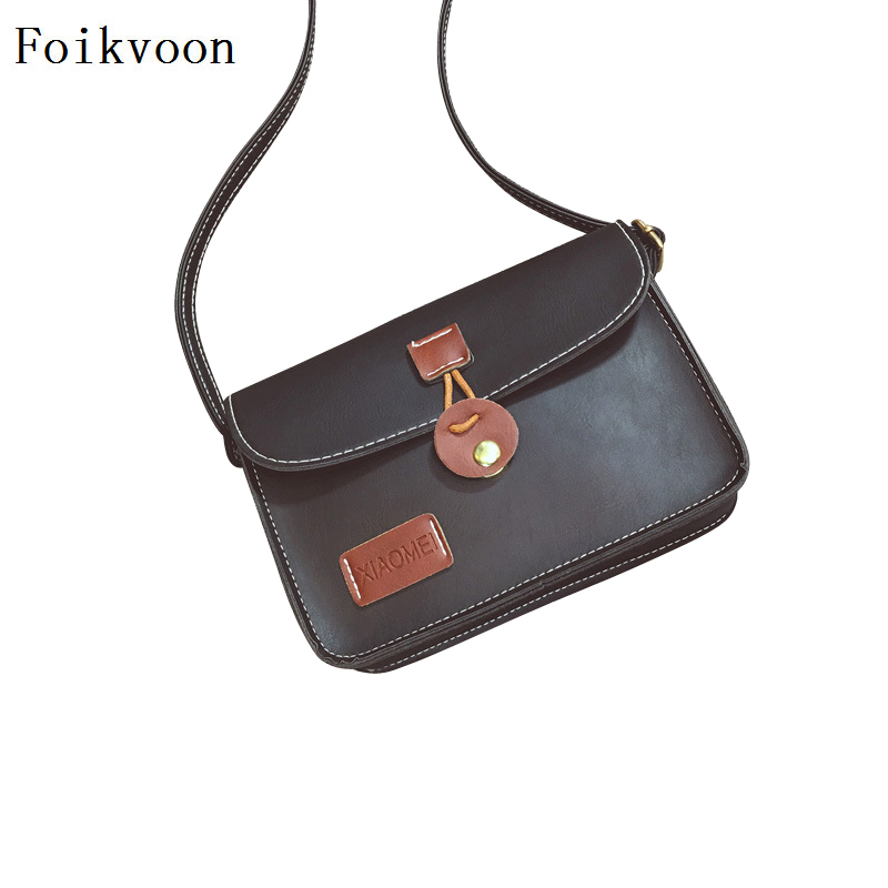 Foikvoon Woman Small Square Bags Simple Retro Shoulder Bags For Women Casual Fashion PU Leather Ladies Crossbody Bag
