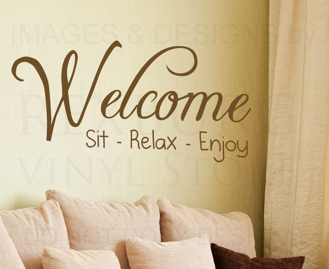Wall Sticker Decal Quote Vinyl Art Adhesive Graphic Welcome Sit ...