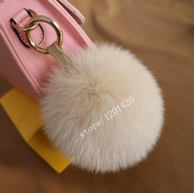 super size 15-16cm luxury Beige Fox Fur Pompom Bag Charm Monster Bag Bugs Key Chain Car Bag Pendant Fluffy  Woman Accessories