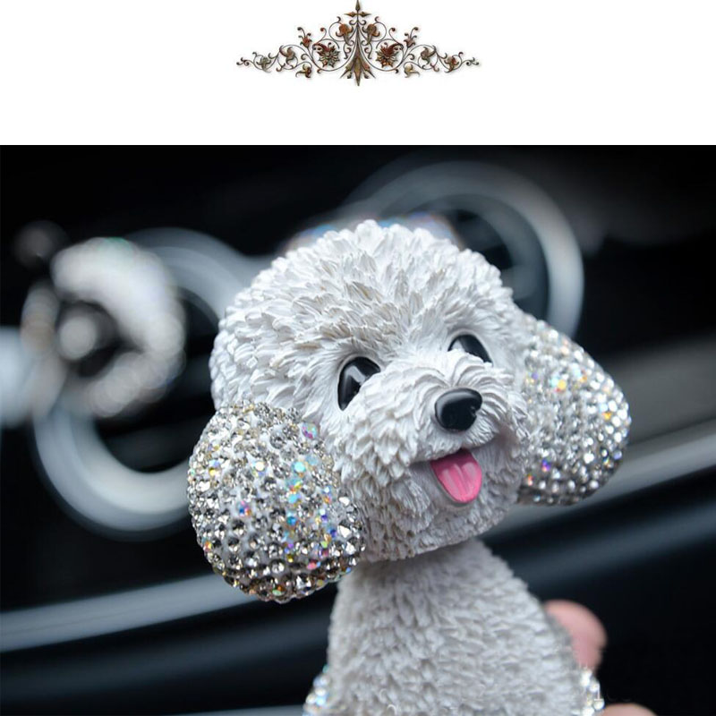 Image 5 - New Style Car Interior Ornaments Diamond Cute Dog Shaking Auto Interior Accessories Car Decoration Living Room Bedroom Girl Gift-in Ornaments from Automobiles & Motorcycles