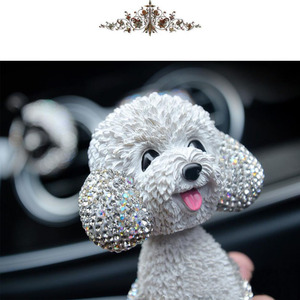 Image 5 - New Style Car Interior Ornaments Diamond Cute Dog Shaking Auto Interior Accessories Car Decoration Living Room Bedroom Girl Gift