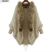 2016 Autumn and winter new large size women  bat sleeve knit cardigan sweater coat fur collar Beige
